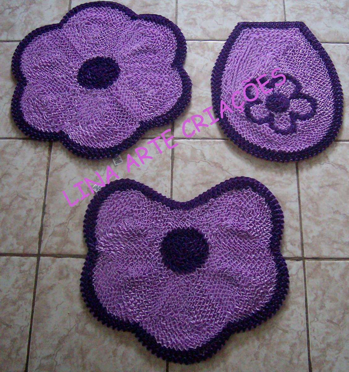 Jogo Banheiro flor lilás e roxo Lina Arte Criações Elo7 #462864 1127x1200 Banheiro Branco E Lilas