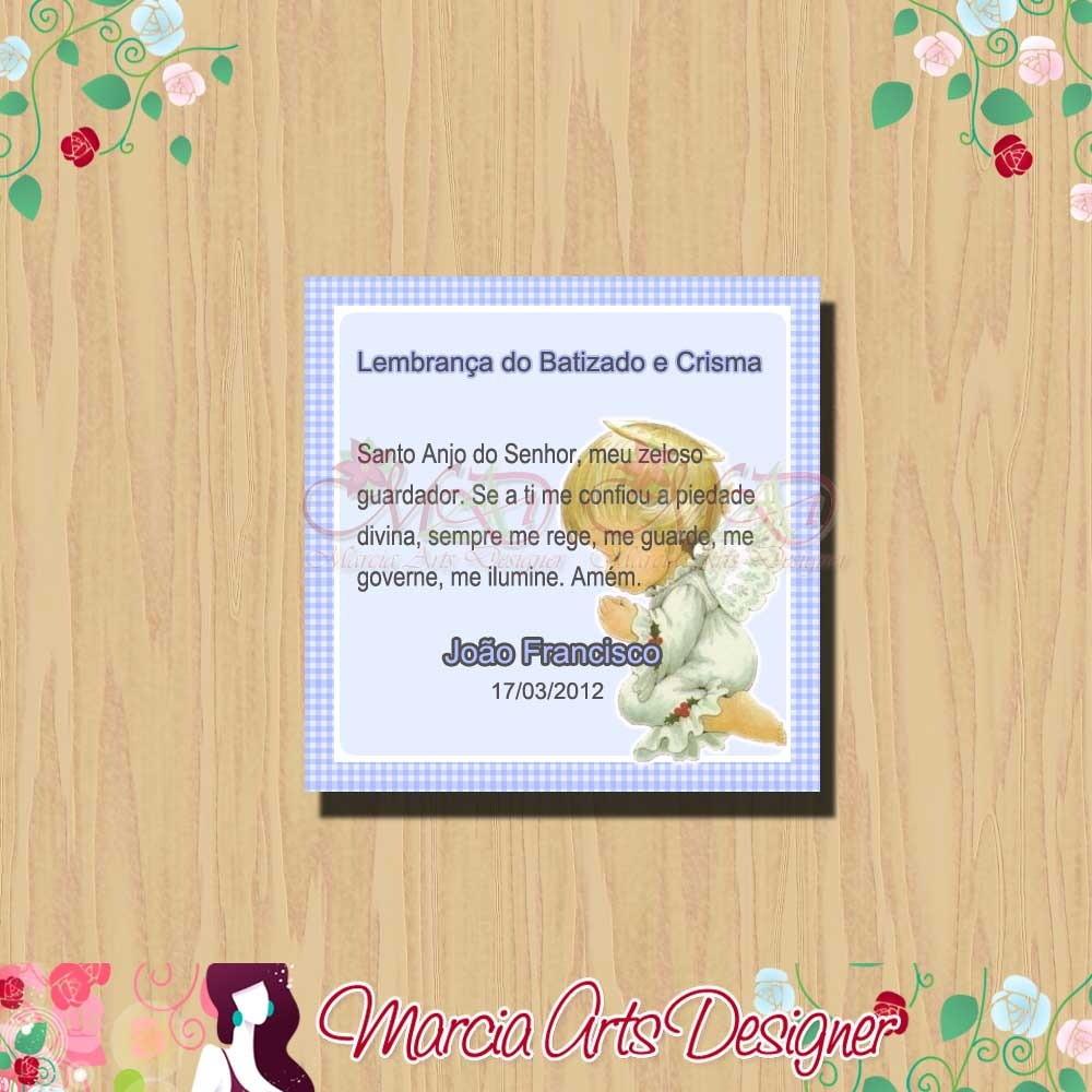 Adesivo para lembrancinha Batizado Marcia Arts Designer