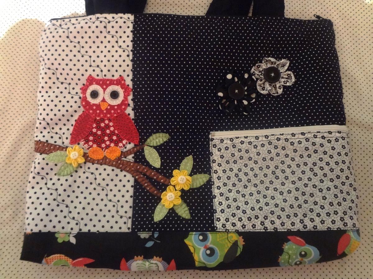 Bolsa De Tecido Decorada Com Coruja : Bolsa tecido coruja no galho pat faz art s elo
