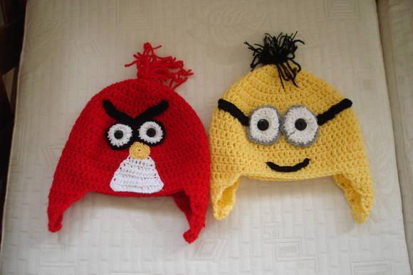 gorros angry birds e minion gorros de crochet.jpg