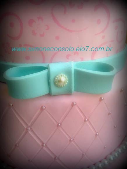 Bolo Rosa e Azul Tiffany Simone Cônsolo Arteira Elo7 ~ Quarto Rosa E Azul Tiffany