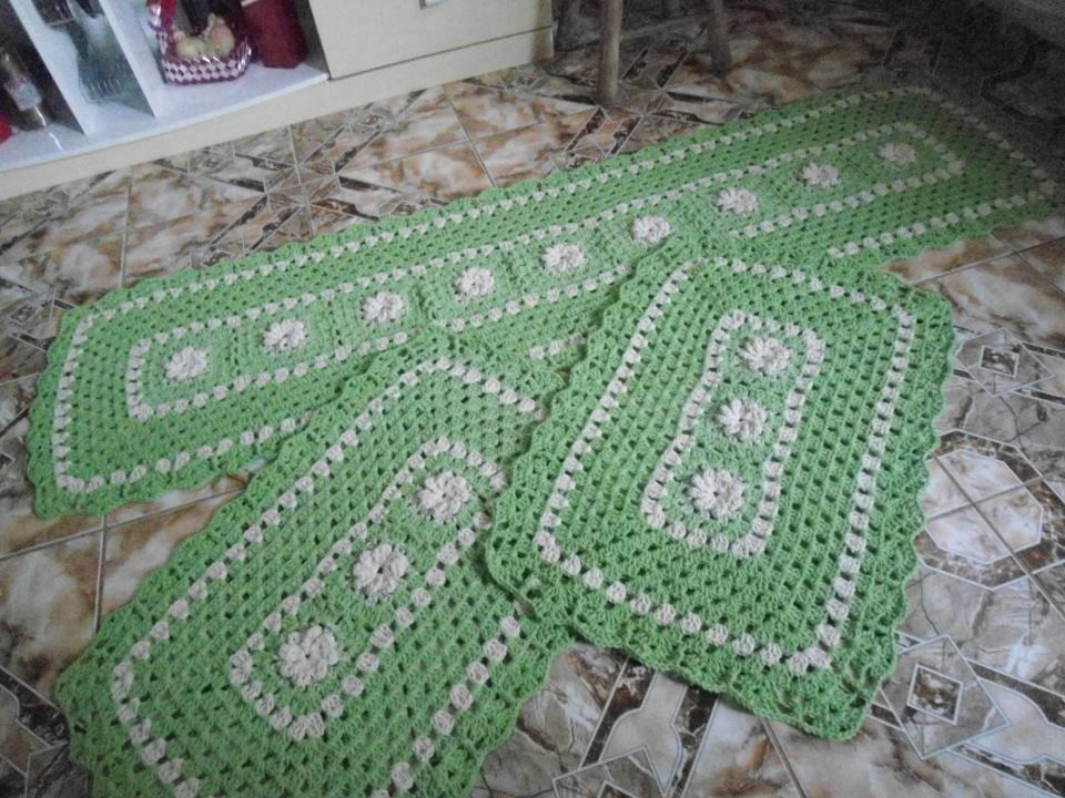 jogo de cozinha verde floral lumis arte em croche elo7