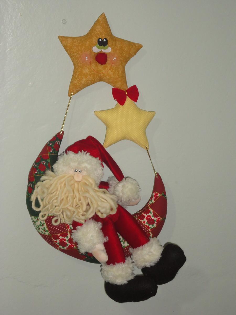 Enfeite De Lua ~ Papai Noel na Lua Arts da Cacá Elo7