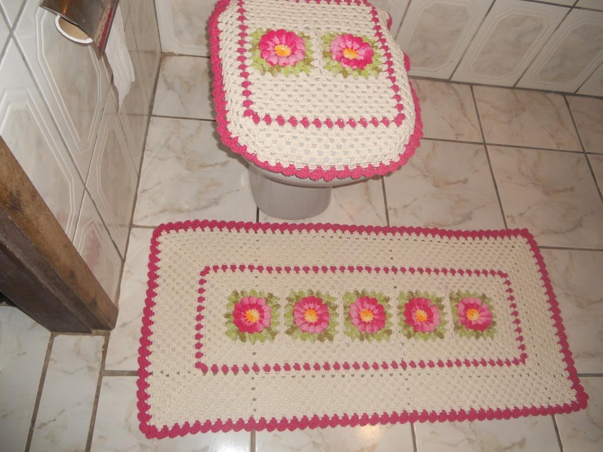 jogo de banheiro 2 peças  ivonete artes em croche  Elo7 -> Decoracao Tapete Banheiro