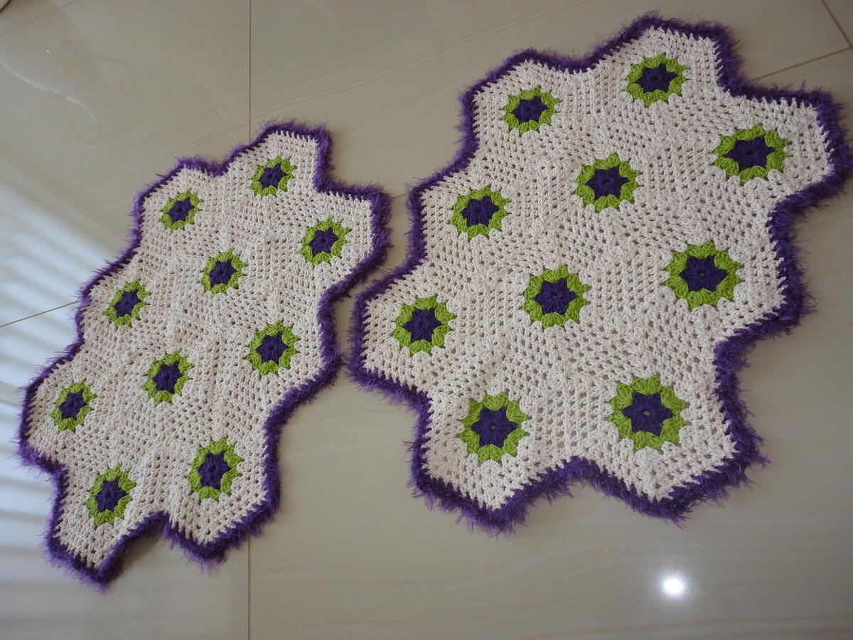 jogo de banheiro de croche barbante felpudo branco e lilas Car  #6A7833 1200x900 Banheiro Branco E Lilas