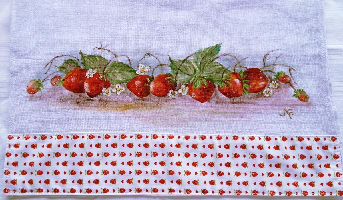 Pano de prato pintado a mão: Morangos | Artesanato Acadia | Elo7 View ...