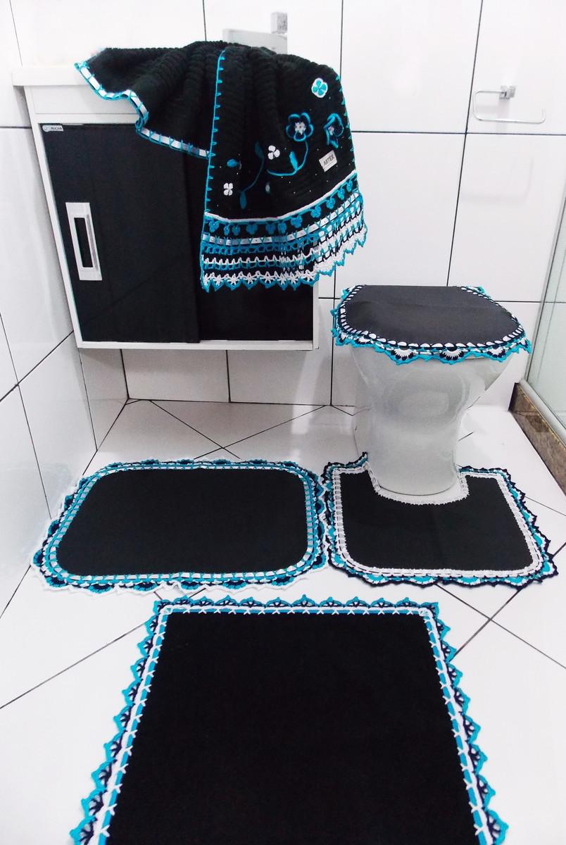 JOGO DE BANHEIRO CAPA, TAPETES E TOALHA  Crochê Carioca  Elo7 -> Decoracao Banheiro Homem