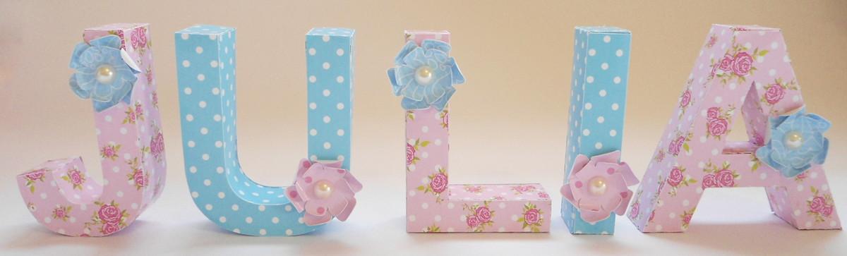 Sala De Estar Pitter Letra ~  letras decorativas azul floral cha de bebe letras decorativas azul