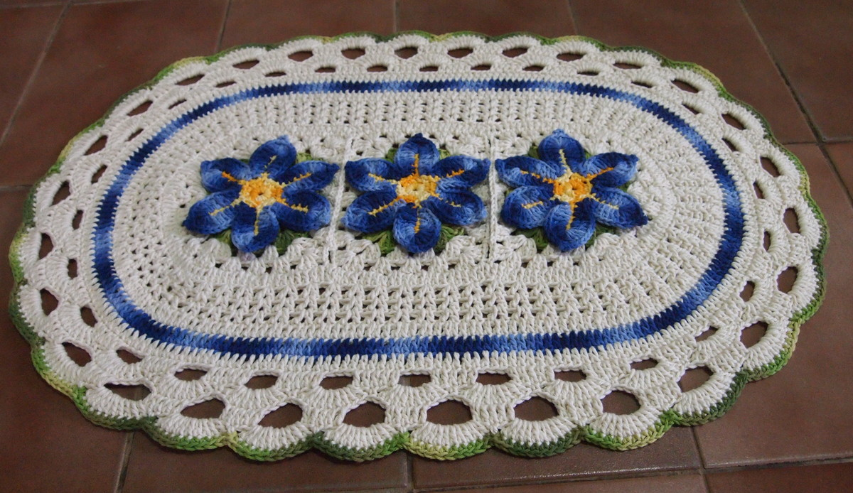 tapete oval   flor estrela do mar croches da elsa elo7