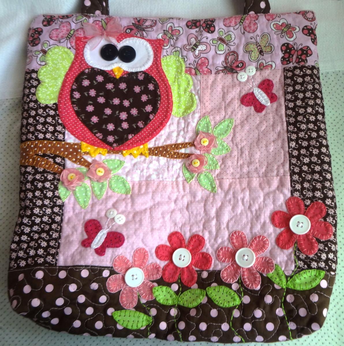 Bolsa De Tecido Decorada Com Coruja : Bolsa coruja marrom com rosa pat faz art s elo