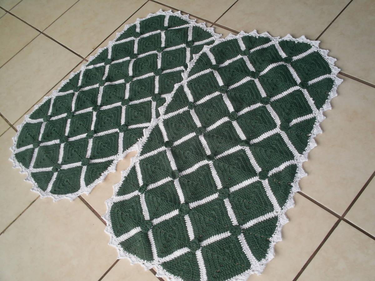 Jogo De Quarto Verde e Branco Crochê MARIA AMÉLIA  ~ Tapetes Verdes Para Quarto