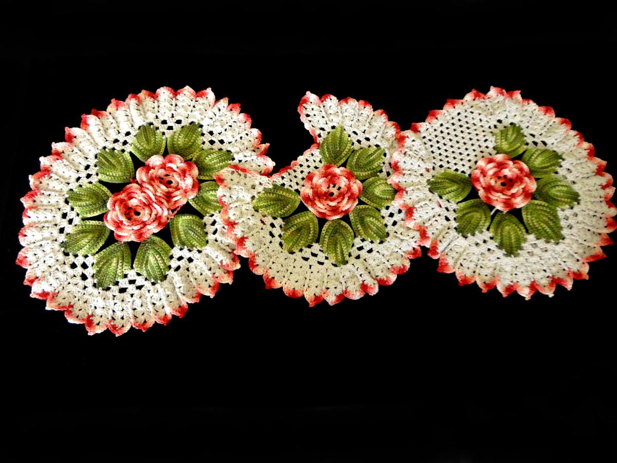 jogo de banheiro de croche flores conjunto de banheiro de croche #51590C 1200x900 Banheiro Com Azulejo De Flores