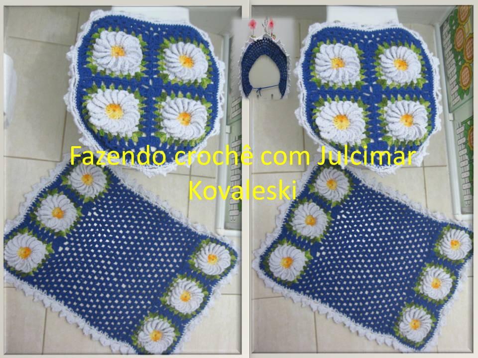 Jogo Banheiro Azul Croche : Jogo banheiro azul rouyal fazendo croch? com joseane