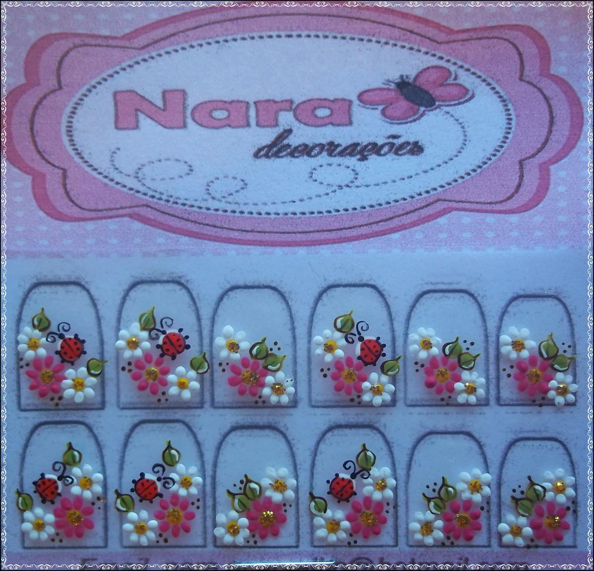 Artesanato Tecido Chita ~ Adesivo De Unha Com Joaninha Nara Decorações Elo7