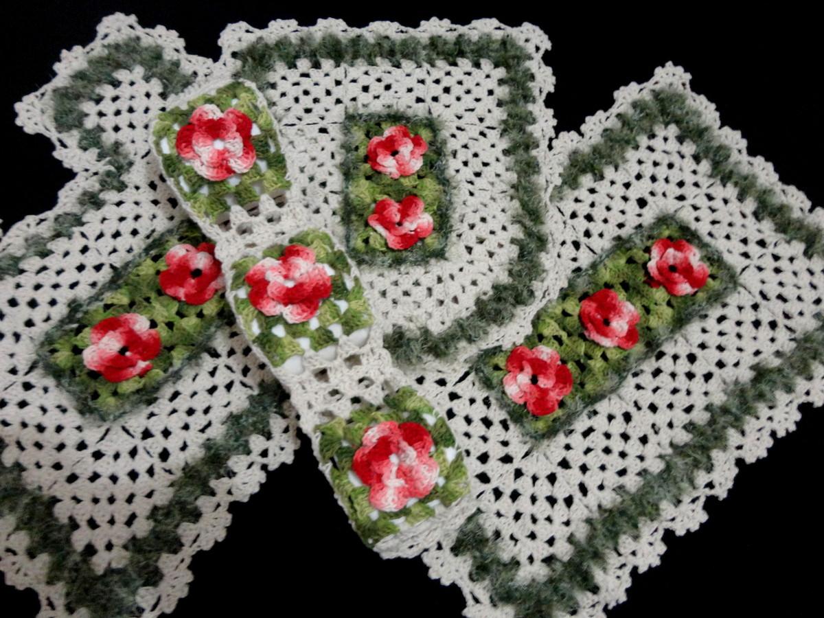 tapete com flores de croche jogo banheiro meu jardim ref a35 tapete de