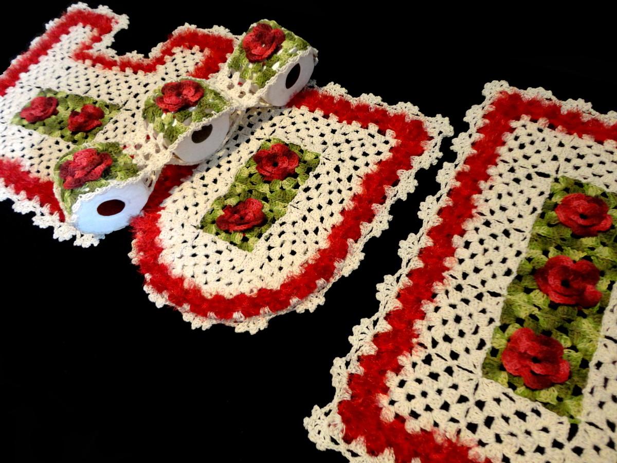 flores de croche jogo banheiro meu jardim ref a35 tapete de flores de