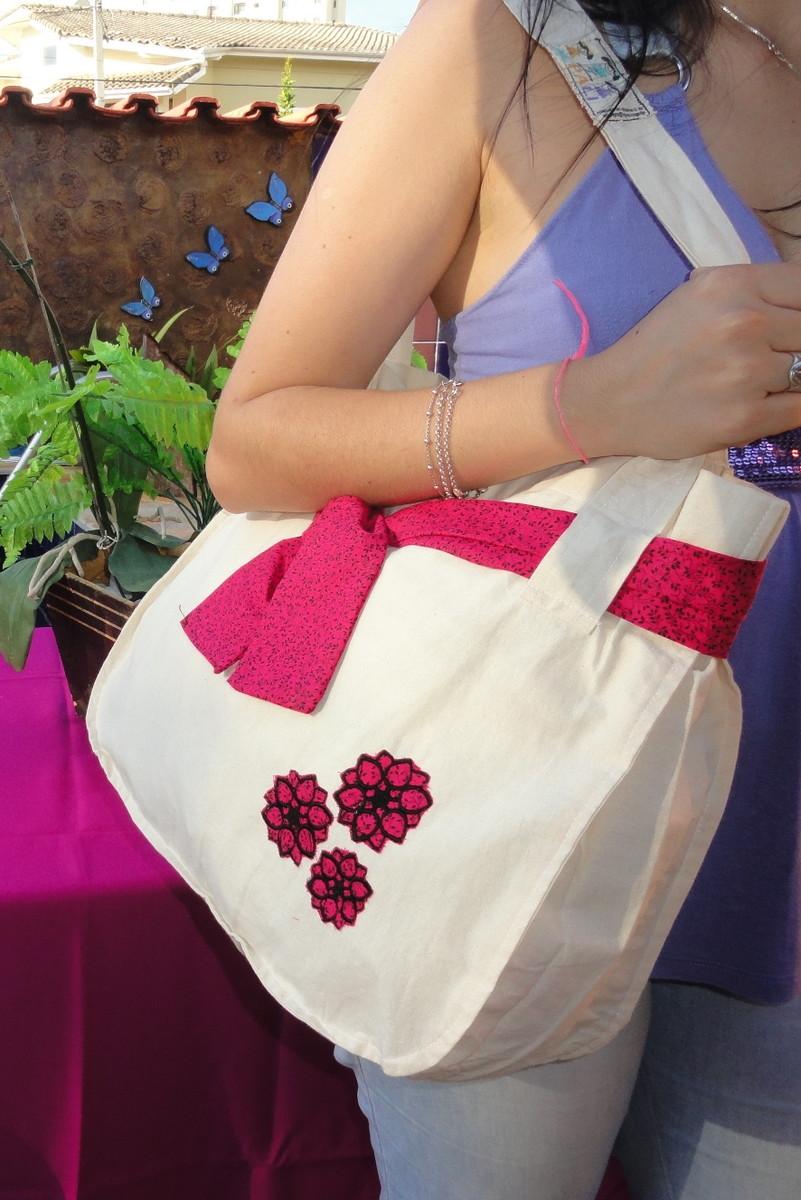 Bolsa De Tecido De Algodão Cru : Bolsa sacola algod?o cru e pink alpali artes bordados