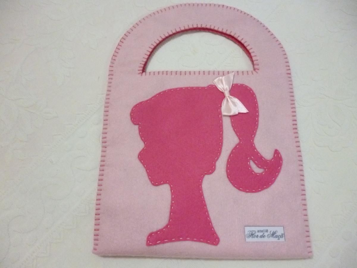 Bolsa De Festa De Feltro : Bolsa em feltro quadrada tema barbie ateli? flor de
