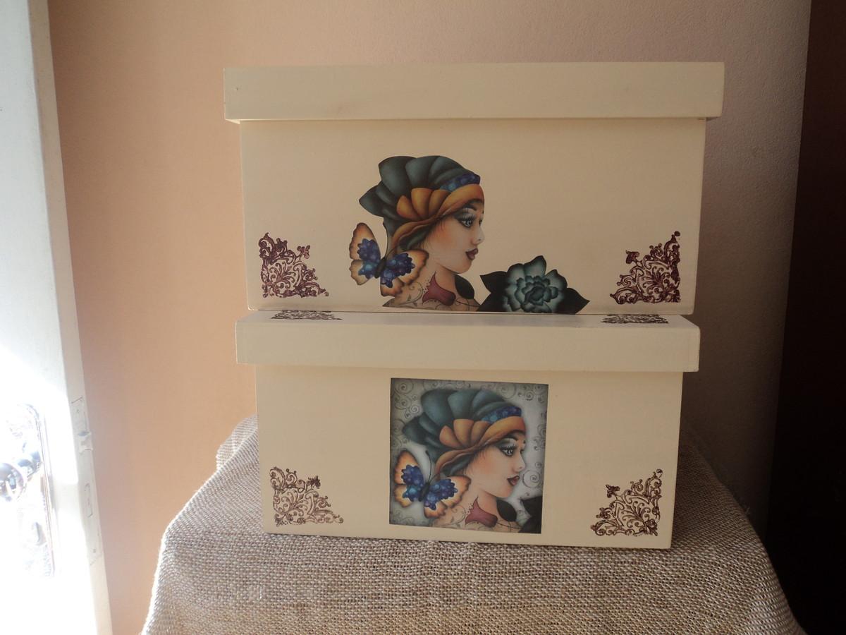 Caixas grandes decoradas artesanato da gisa elo7 for Gradas decoradas