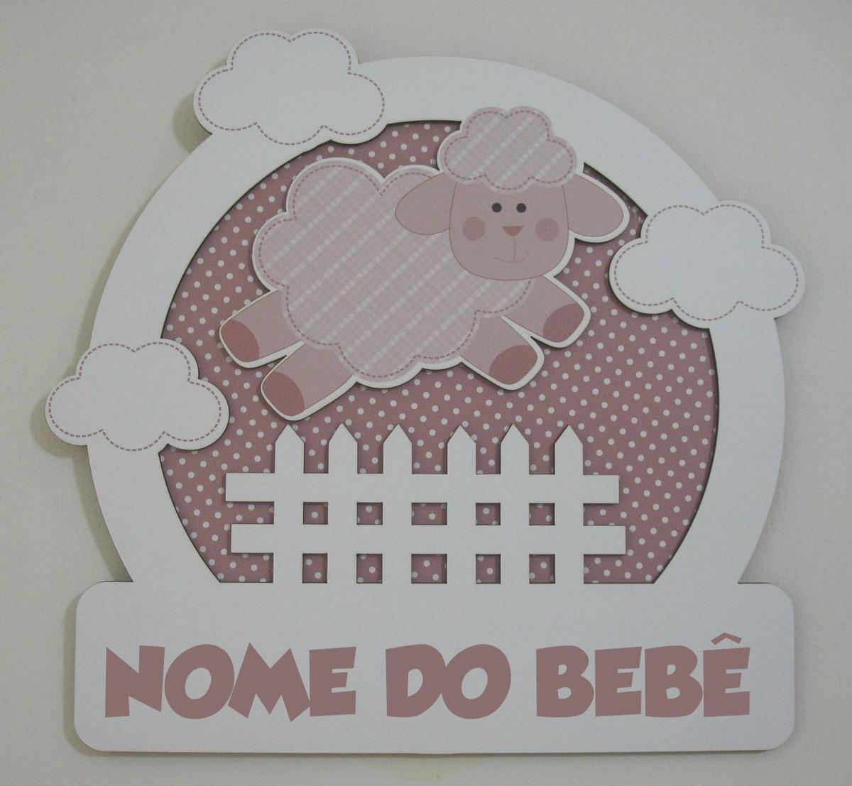 porta de maternidade 3d mdf ovelhinha decoracao de quarto porta de  #675357 1200x1107