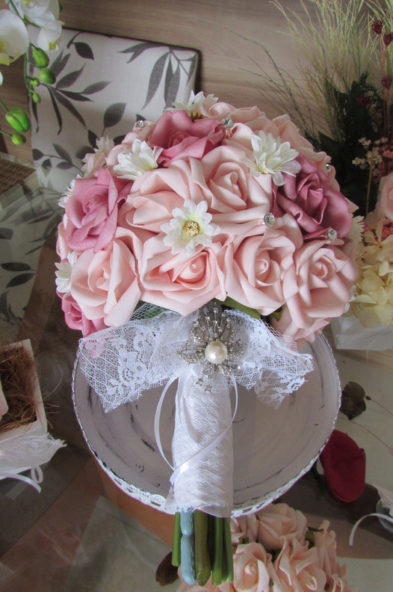 kit decoracao casamento:kit-mini-casamento-rosa-com-rendas-i-enfeite-mesa kit-mini-casamento