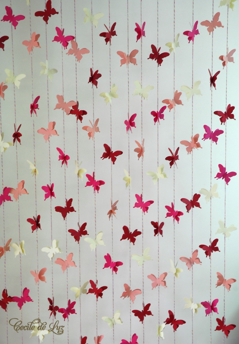Cortina de borboletas 15 fios  Cecile de Luz  Flores e Arte em papel  Elo7