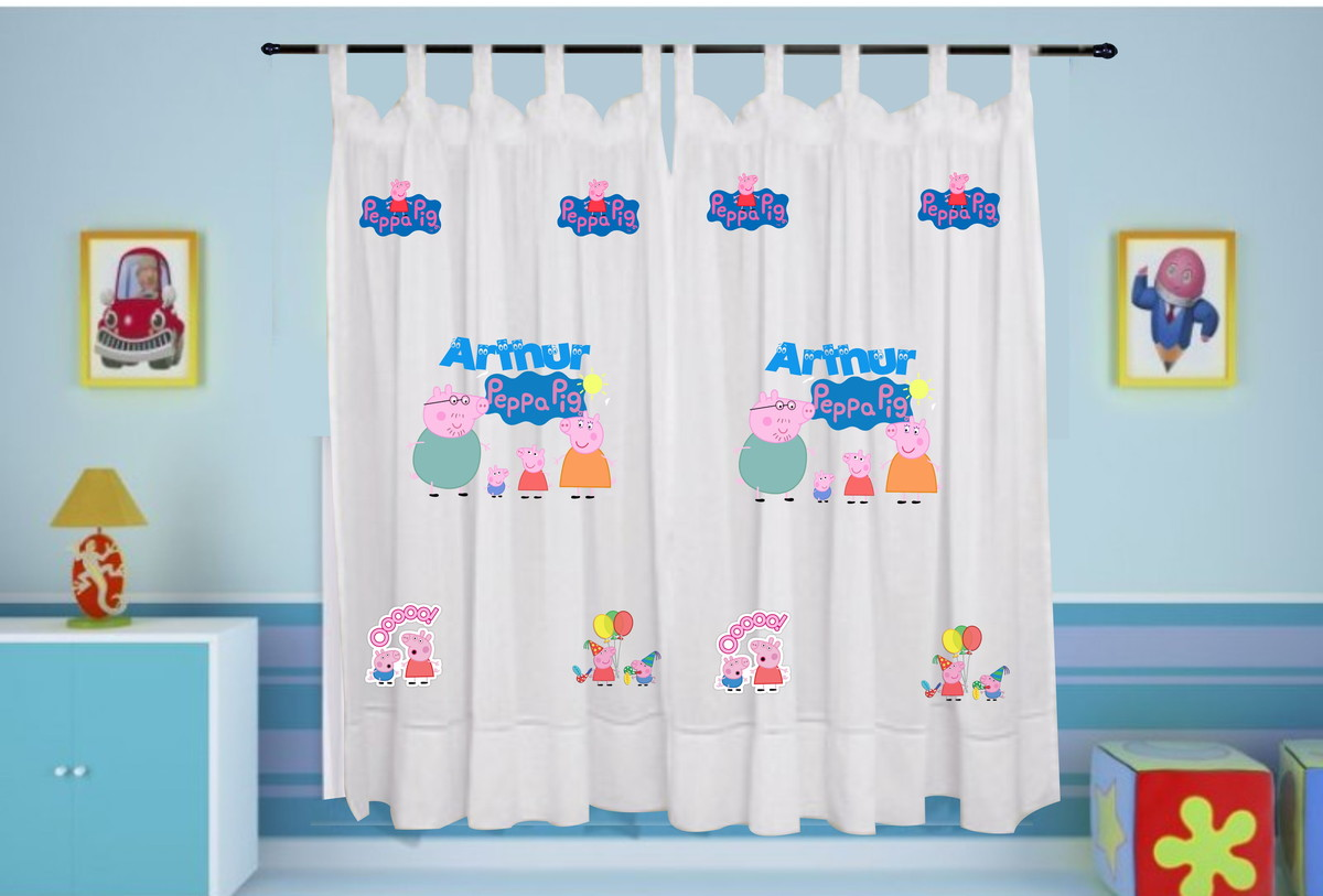 Cortina peppa pig personalizada com nome no elo7 estampa for Cortinas para aulas