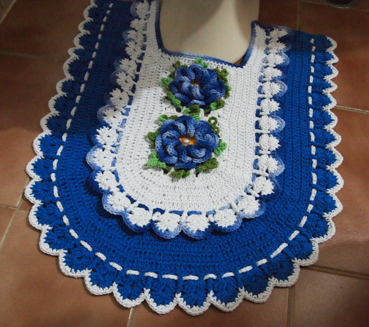 Jogo banheiro azul croche : Jogo de banheiro branco azul?o croches da elsa elo