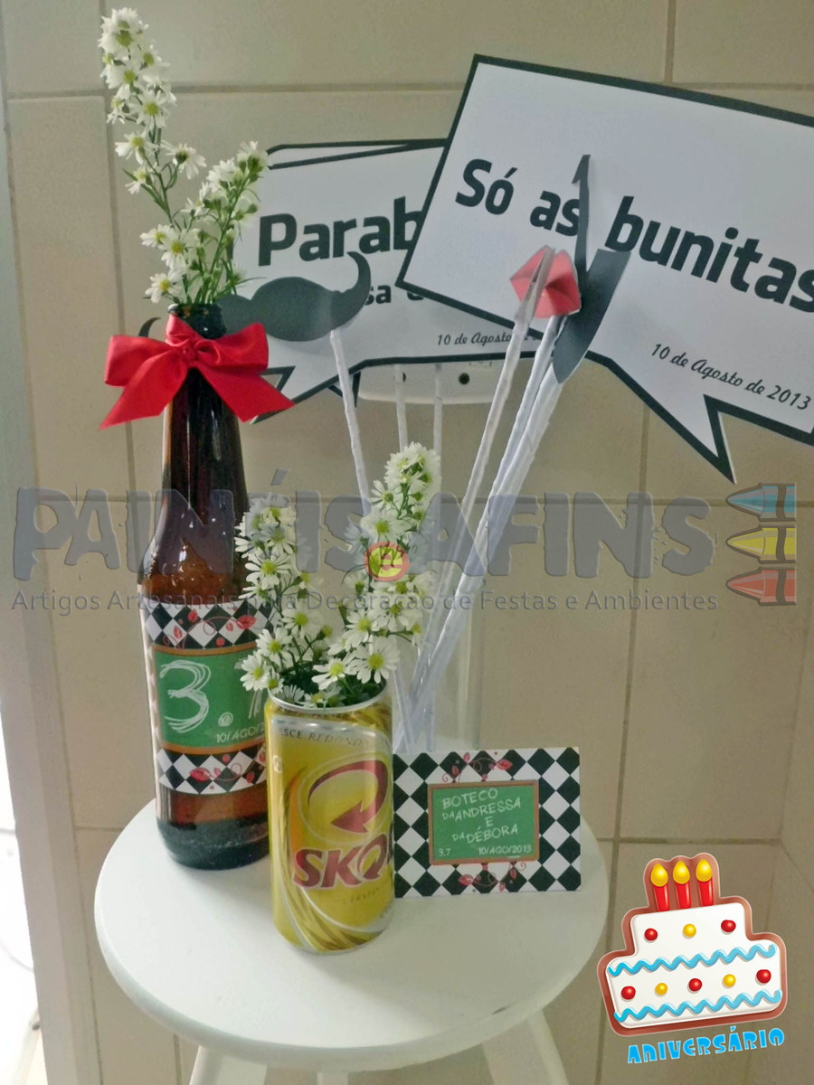 decoracao festa de boteco mesas