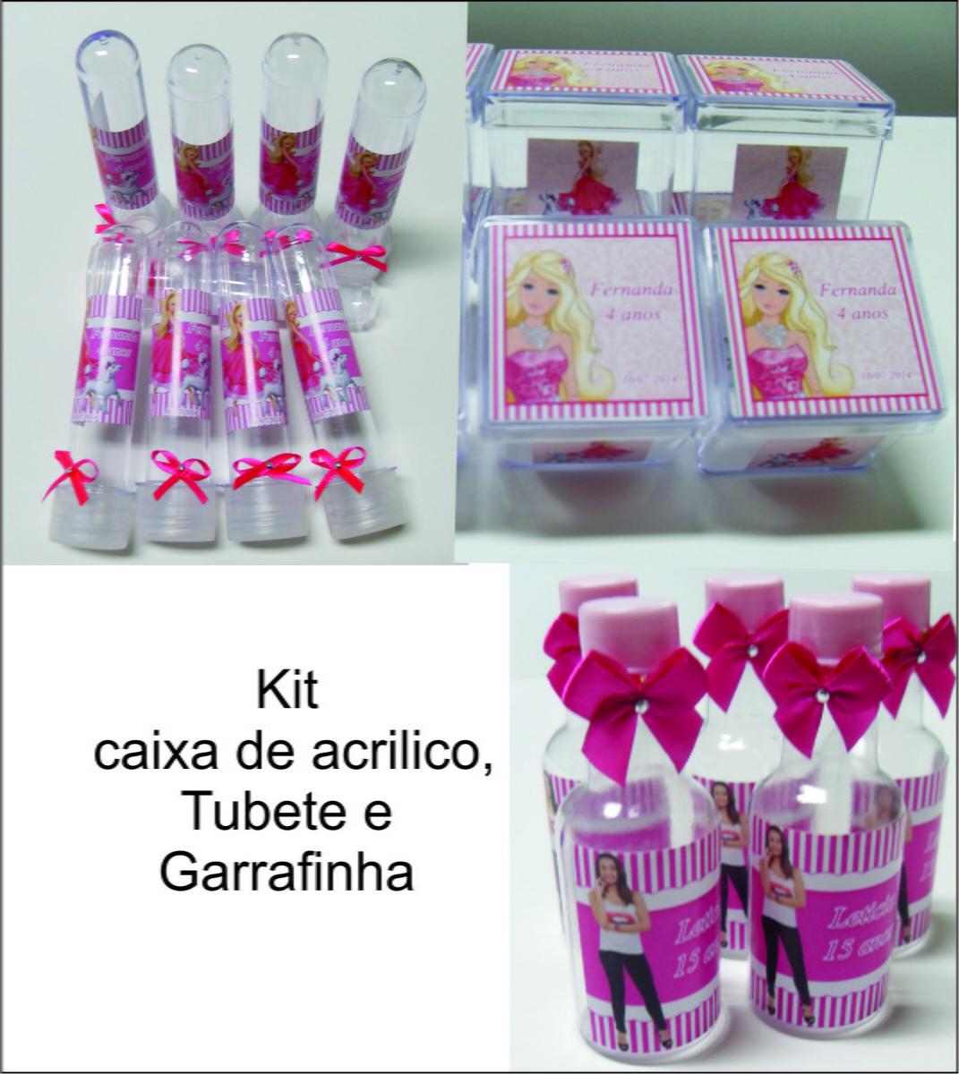 Kit Barbie Caixinha, Garrafinha e Tubete  Scrap & Festa  El -> Kit Banheiro Acrilico Decorado