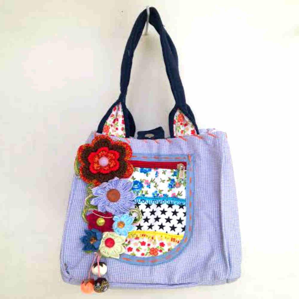 Bolsa De Tecido Artesanal : Bolsa de tecido em patchwork babel das artes elo