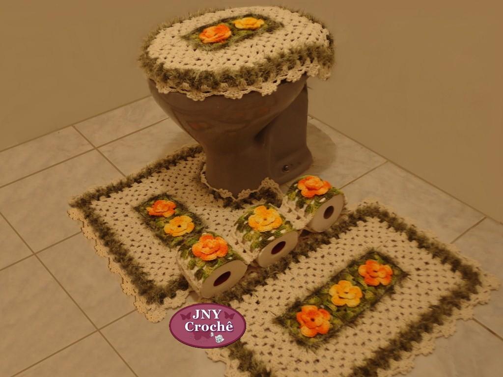 jogo de banheiro de croche meu jardim jogo de tapetes de banheiro de  #C64505 1024 768
