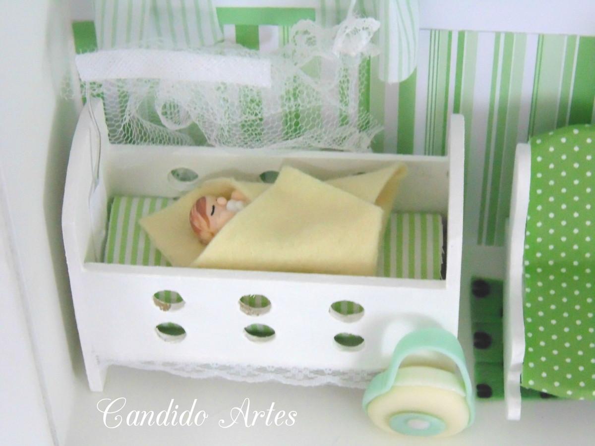 Quadro miniatura quarto de bebê verde Candido Artes Elo7 ~ Quarto Verde E Azul De Bebe