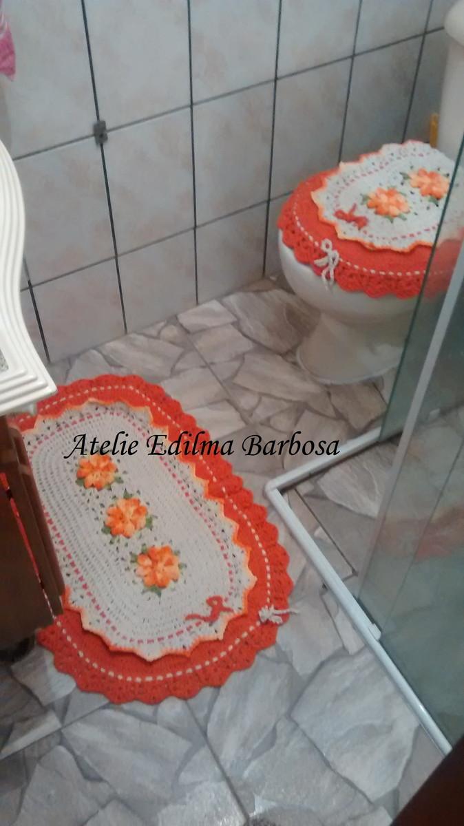 Jogo de Banheiro  Atelie Edilma Barbosa  Elo7 -> Decoracao Tapete Banheiro