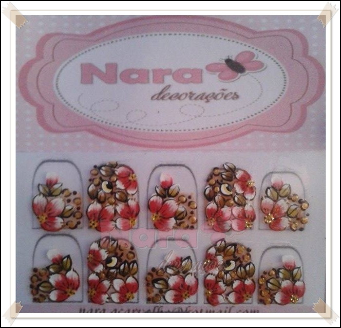 Armario Niños Ikea ~ Adesivo De Unha Onça e flor Nara Decorações Elo7
