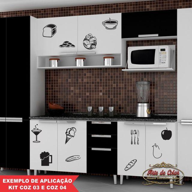 Adesivo Geladeira Personalizada ~ Adesivos Parede Kit Cozinha Diversos Mod Arte de Colar