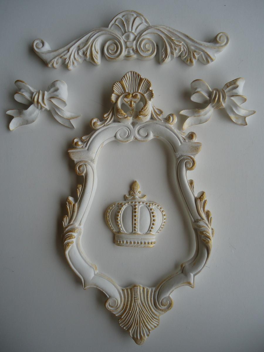 Kit nobre moldura coroa la os arabesco fuxicando arte - Resina para paredes ...