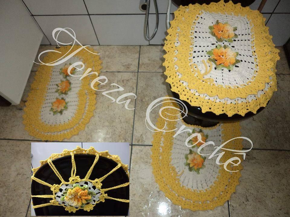 Jogo De Banheiro Amarelo Com Vermelho : Jogo de banheiro amarelo em croch? tereza elo