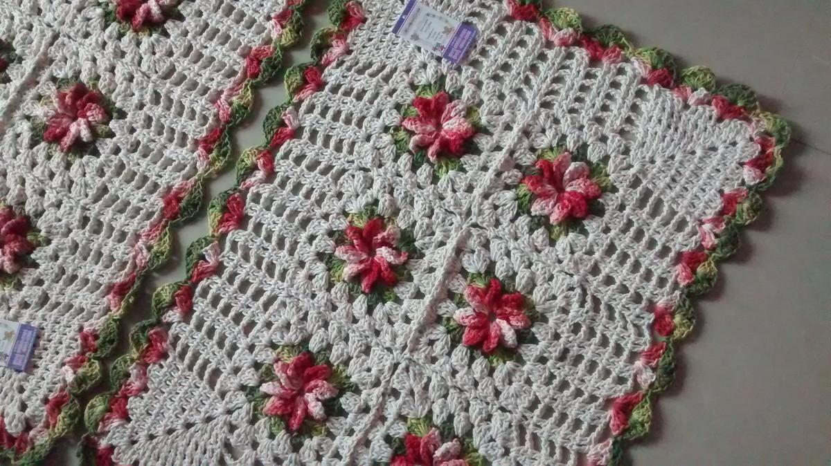 Par de tapetes em barbante floral Lú Guimarães Crochê Elo7 ~ Tapete Quarto De Barbante