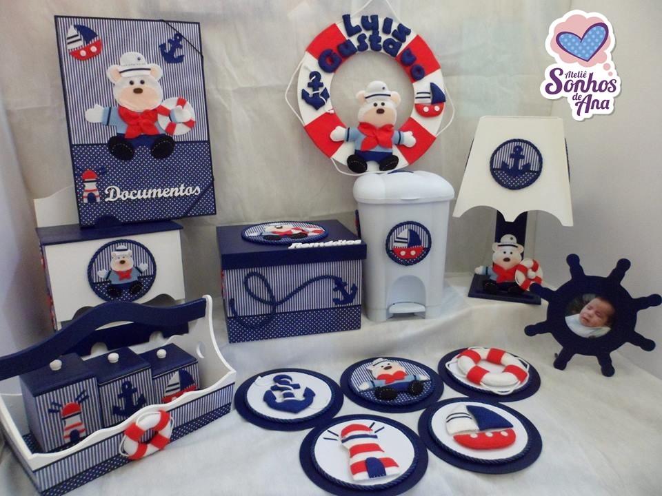 Quarto Para Bebe Urso Soninho Rosa ~ urso feltro kit higiene urso marinheiro kit de bebe menino kit