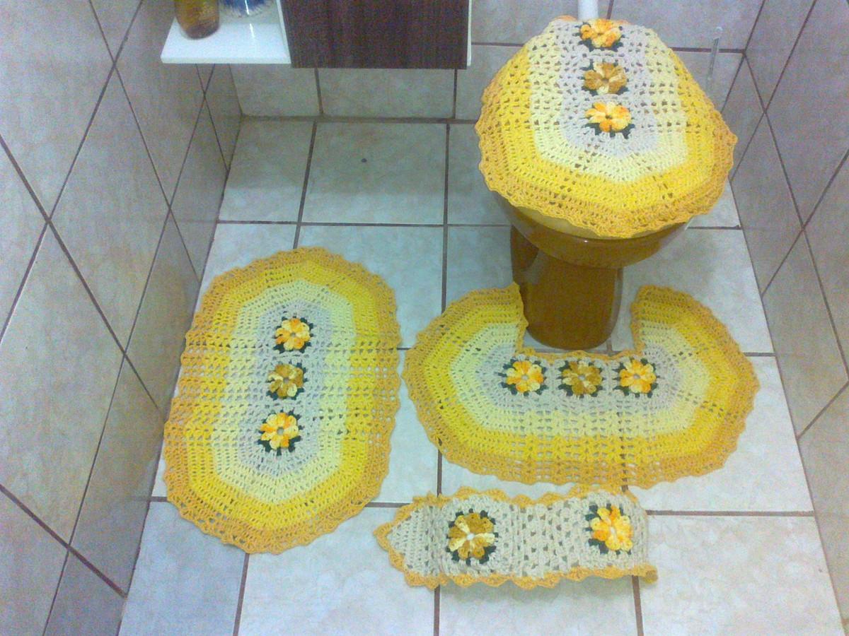 > Tapete de Crochê > Tapete Banheiro Amarelo  Pronta entrega #9F942C 1200 900
