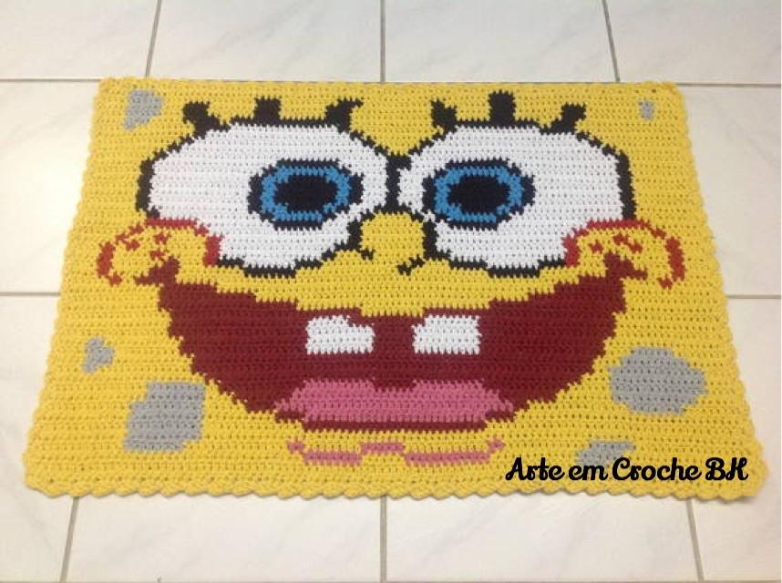 Hello Kitty Tapete Croche : gt Tapete de Barbante gt Tapete Croch Personagem Bob Esponja