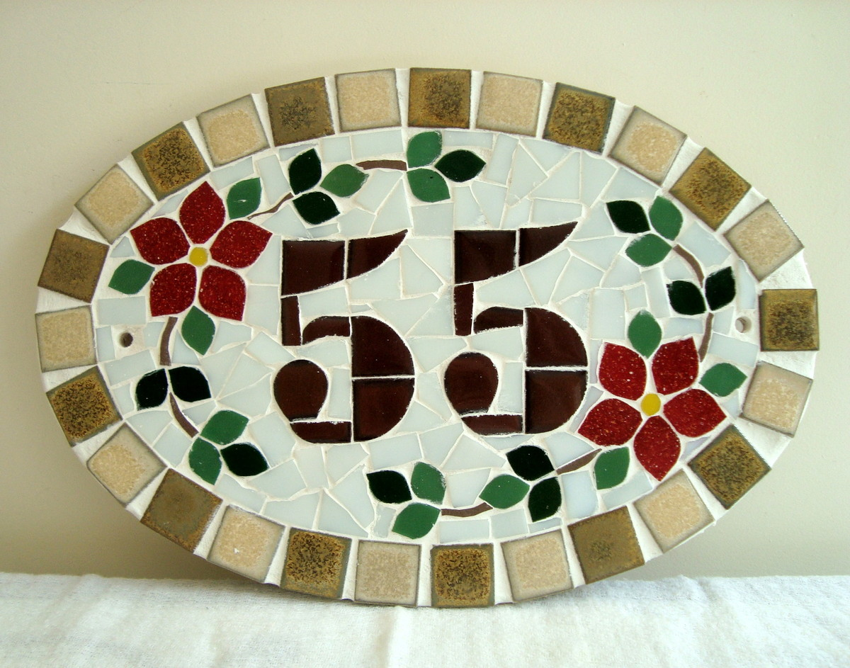 Numero residencial oval pequeno kelly borges mosaicos elo7 for Mosaico ceramica