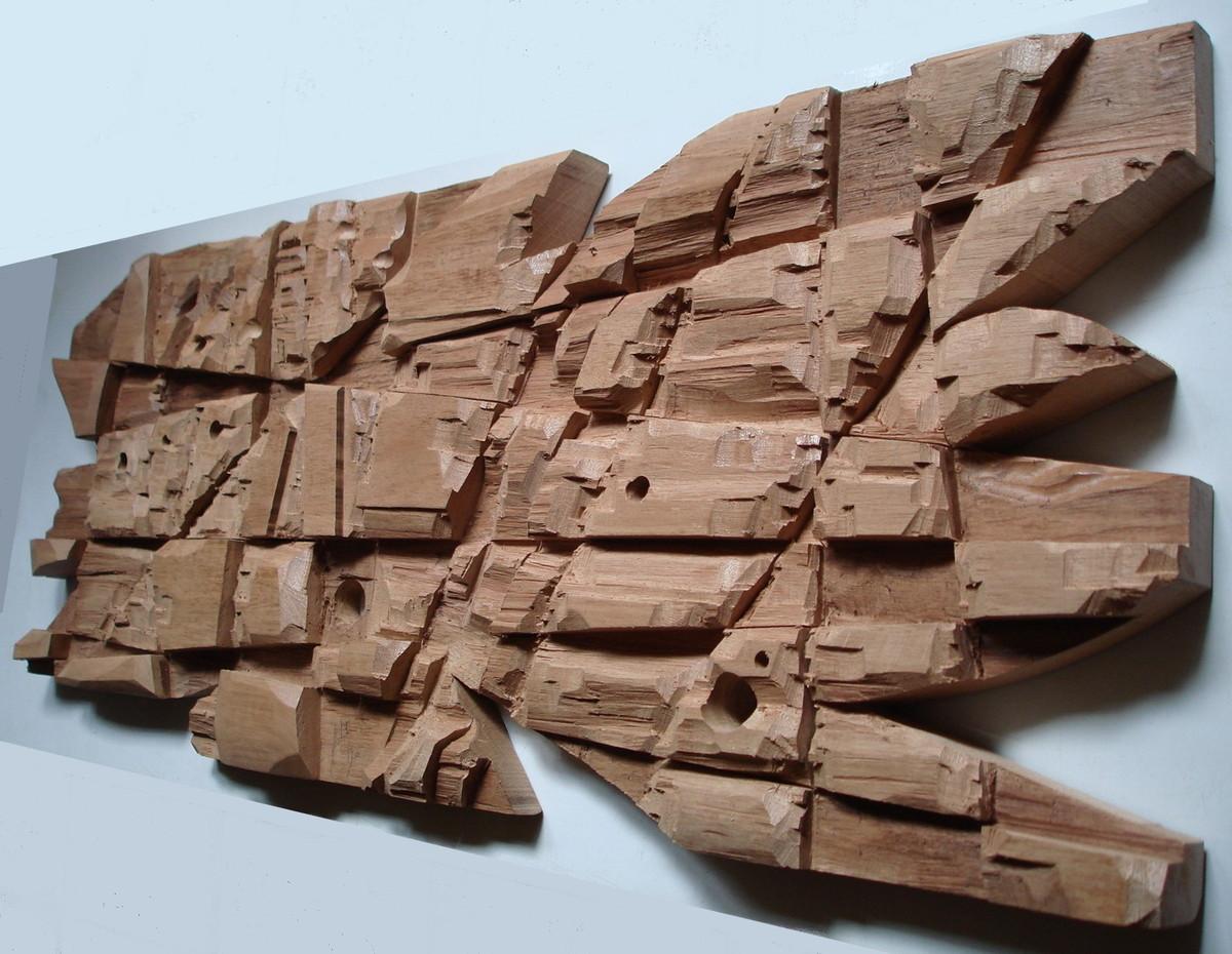 Quadro abstrato moderno de madeira Ton Dias Esculturas de parede #3E6C8D 1200x930