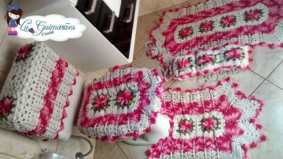 Tapete Floral Para Banheiro : tapete de croche jogo de banheiro flores e bicos 5 pecas tapete de