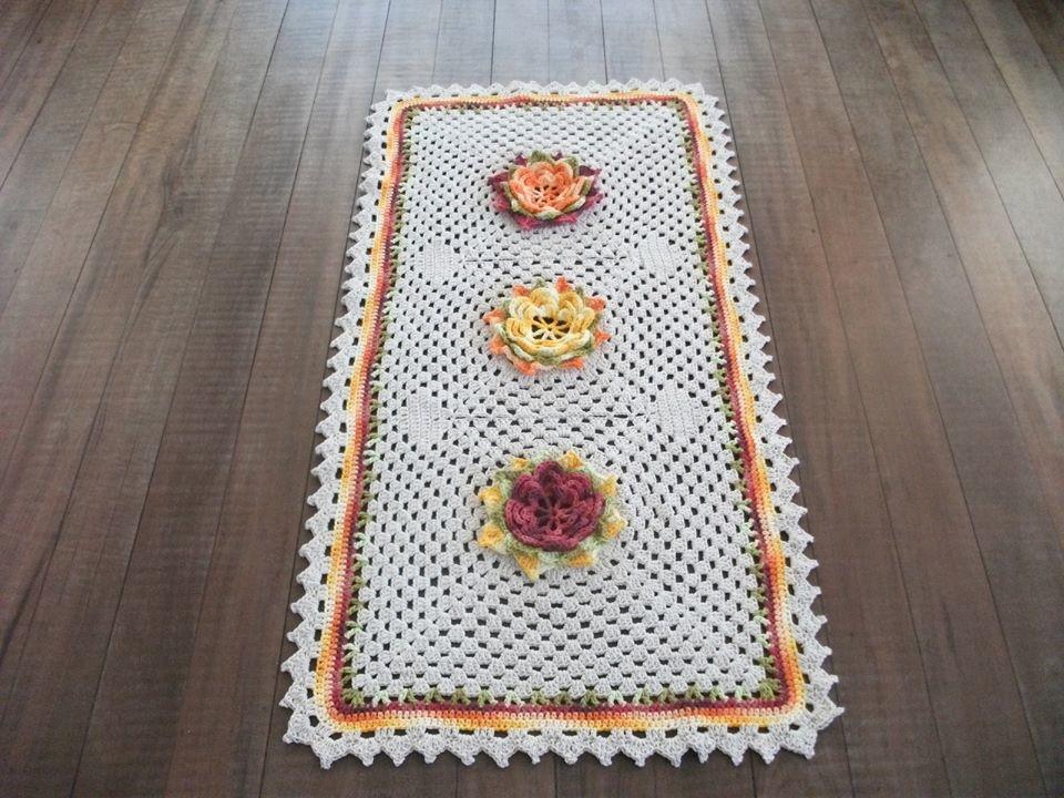 Tapete Sala De Jantar Grande ~ de croche tapete de croche grande com flores sala de estar tapete de