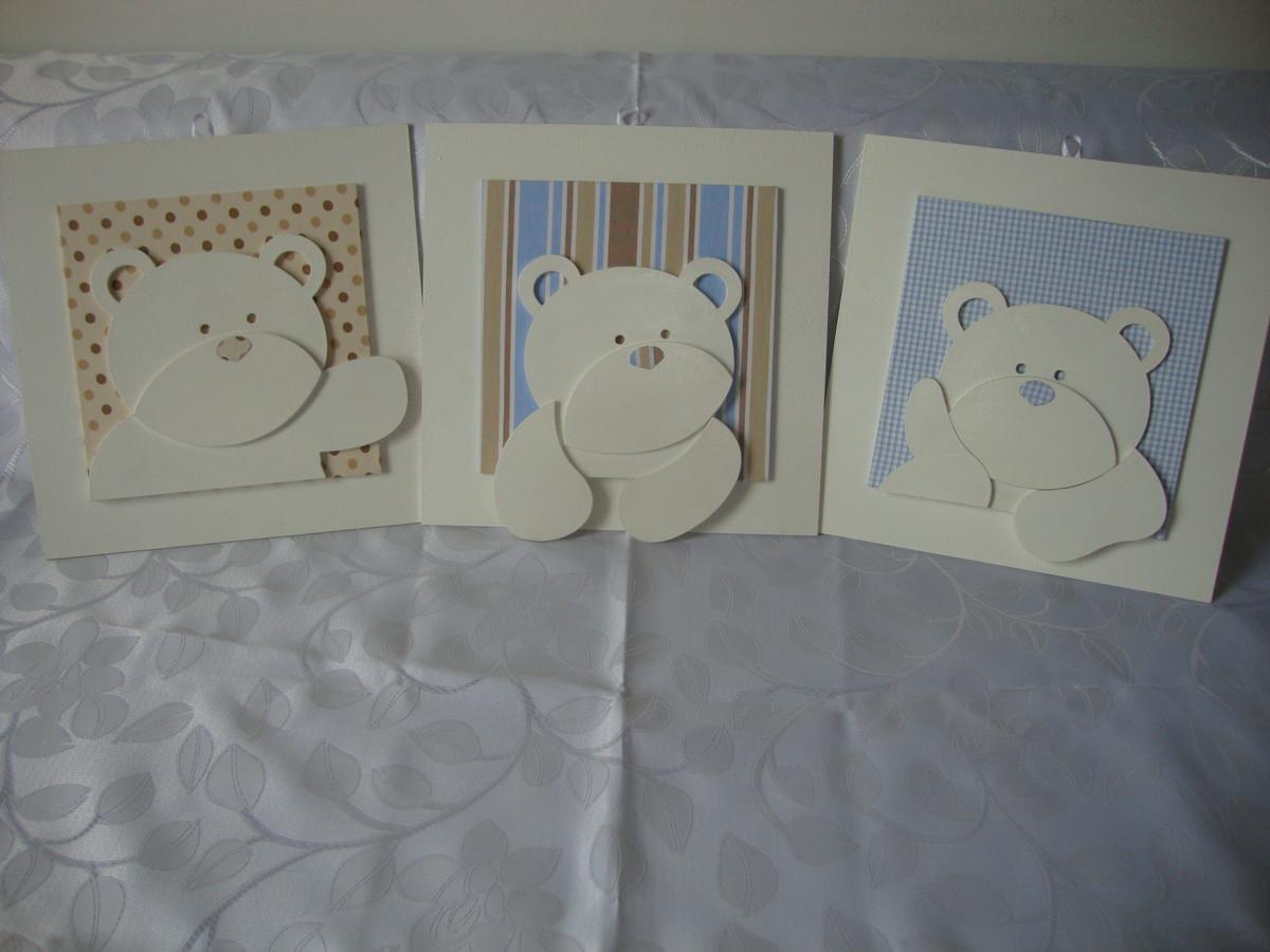 Trio de quadro 3D urso Lilica Art´s Elo7 ~ Trio De Quadros Para Quarto De Bebe