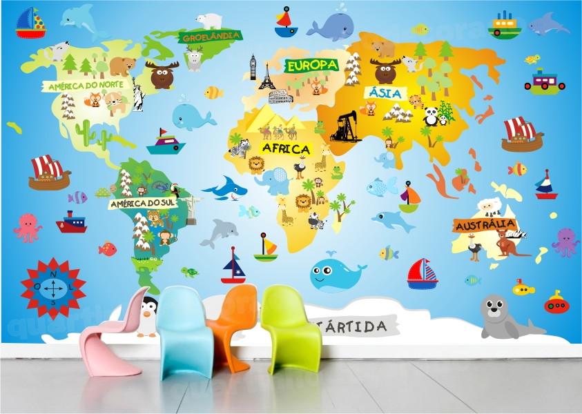 Papel parede infantil mapa safari m01 quartinhodecorado - Papel pared mapa mundi ...