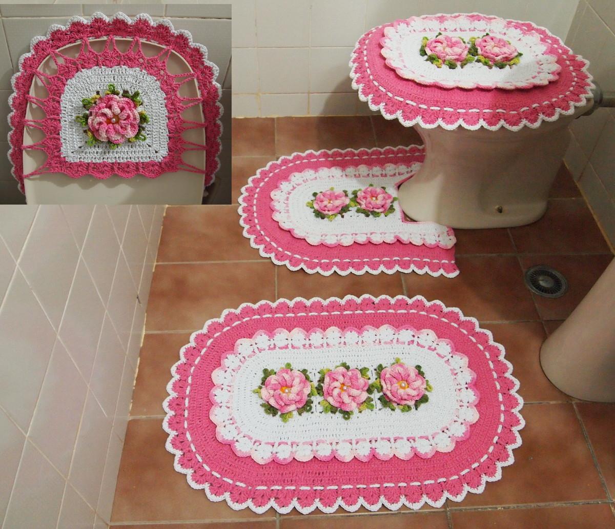 banheiro rosa e branco croche jogo de banheiro rosa e branco banheiro #9E2D4A 1200x1032 Banheiro Bege E Rosa
