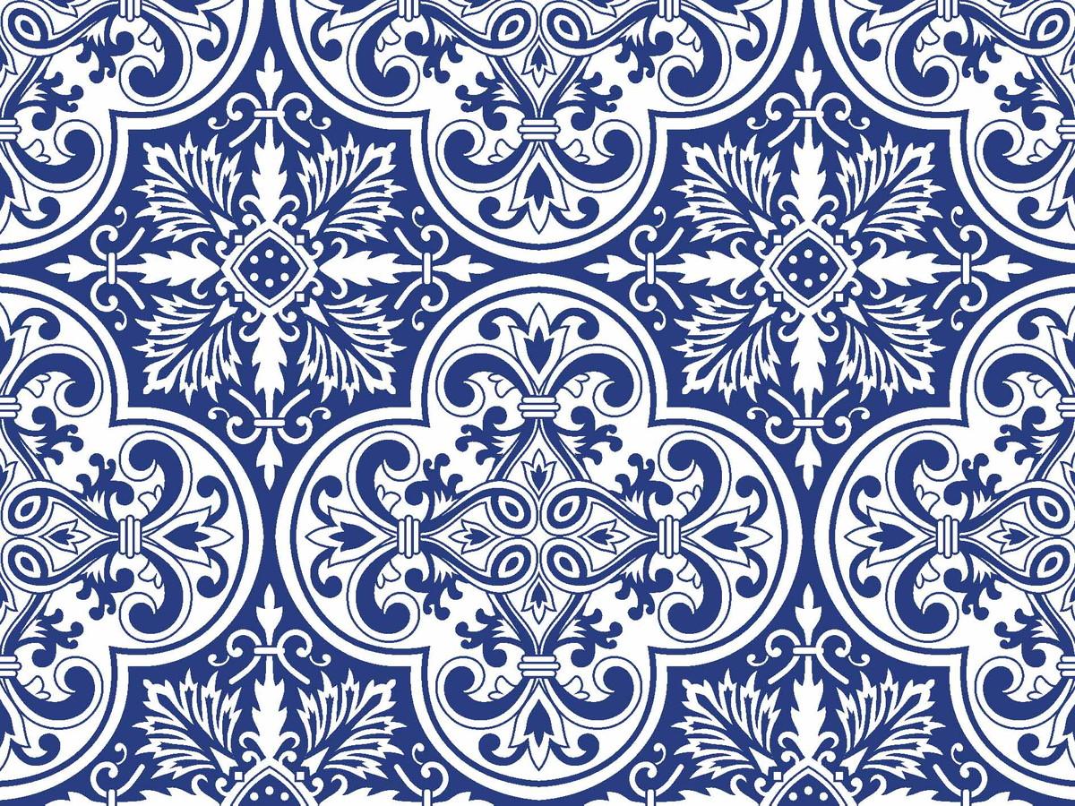 Tc358b tecido azulejo azul fabricart mod pannobom elo7 for Azulejo azul